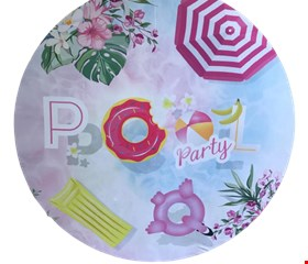 Painel Redondo Tecido Sublimado - Pool Party com Donuts e Boia de Flamingo 1,50mD